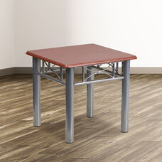 Mahogany Laminate End Table with Silver Steel Frame
