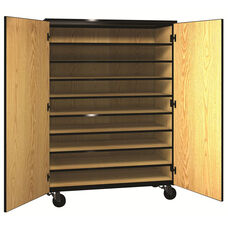 Denali 1000 Series Mobile Tote Tray Storage w/ Doors & 9 Shelves