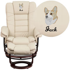 Embroidered Contemporary Beige Leather Recliner and Ottoman with Swiveling Mahogany Wood Base