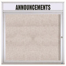 1 Door Outdoor Illuminated Enclosed Bulletin Board with Header and Aluminum Frame - 36