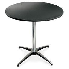 30'' Diameter Round Laminate Pedestal Table with Aluminum X-Base - 42''H