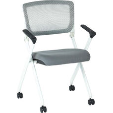 Space Pulsar Folding Chair with Breathable Mesh Back and Fabric Seat - Set of 2 - Steel