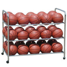 Double Wide Steel Frame Ball Cart with Casters - Chrome
