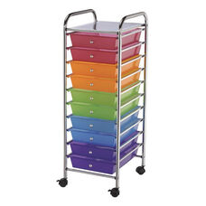 10 Drawer Chrome Frame Storage Cart - Multicolor