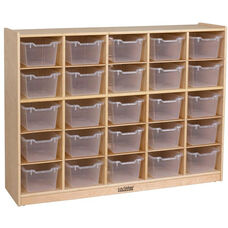 Birch 25 Cubby Tray Cabinet with 25 Clear Bins - 48