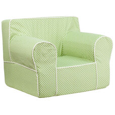 Oversized Green Dot Kids Chair with White Piping