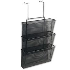 Fellowes® Mesh Partition Additions Three-File Pocket Organizer - 12 5/8 x 16 3/4 - Black