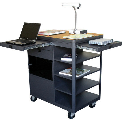 Our Vizion Presenter Multimedia Cart with Acrylic Doors and Four Side Shelves - Oak Laminate is on sale now.