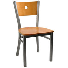 Moon Back Chair with Metal Frame and Veneer Seat and Back in Natural Finish
