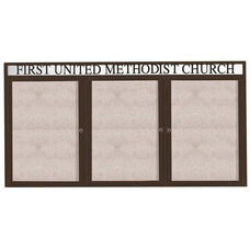 3 Door Outdoor Enclosed Bulletin Board with Header and Bronze Anodized Aluminum Frame - 48