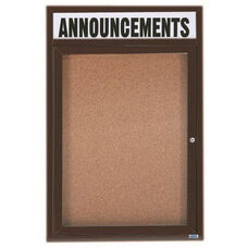 1 Door Indoor Enclosed Bulletin Board with Header and Bronze Anodized Aluminum Frame - 36