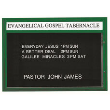Single Sided Illuminated Community Board with Header and Green Powder Coat Finish - 42