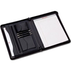 Leather Enhanced Zip Around Leather Portfolio - Black