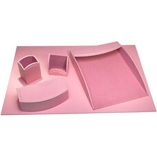 Colors Faux Leather 5 Piece Office Organizing Desk Set - Cameo Pink