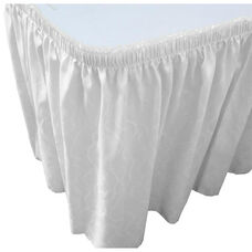Wave 13 Foot Shirred Pleat Table Skirt with SnugTight™ Clips - White