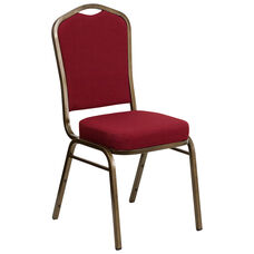 HERCULES Series Crown Back Stacking Banquet Chair in Burgundy Fabric - Gold Vein Frame
