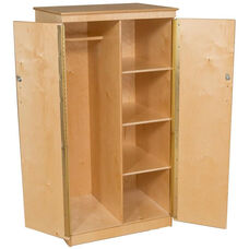 Wooden Teachers Locking Storage Cabinet with Wardrobe Bar and 3 Fixed Shelves - 31