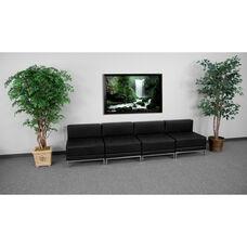 HERCULES Imagination Series Black LeatherSoft Lounge Set, 4 Pieces