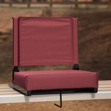 Grandstand Comfort Seats by Flash - 500 lb. Rated Lightweight Stadium Chair with Handle & Ultra-Padded Seat, Maroon