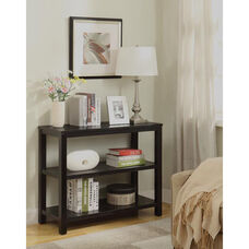 Ave Six Merge Foyer Table with Shelves and Solid Wood Legs - Black