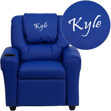 Personalized Blue Vinyl Kids Recliner with Cup Holder and Headrest