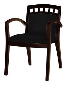Mercado Window Back Guest Chair - Set of 2 - Black Leather with Mahogany Finish