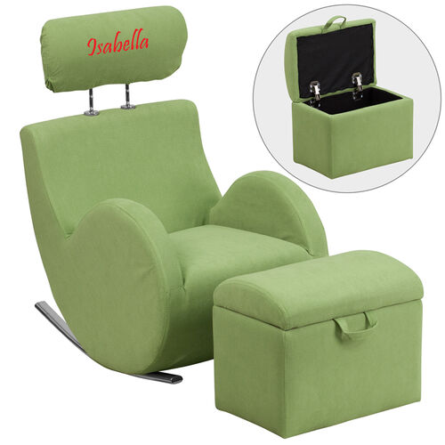 Our Personalized HERCULES Series Green Fabric Rocking Chair with Storage Ottoman is on sale now.