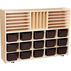 Contender Multi-Storage Unit with 15 Brown Plastic Trays - Assembled with Casters - 46.75