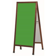 Extra Large A-Frame Sidewalk Board with Green Porcelain Chalkboard and Cherry Stain Finished Solid Red Oak Frame - 30