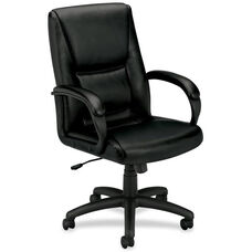 Basyx Mid-Back Management Chair with Padded Loop Arms - Black Leather