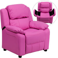 Deluxe Padded Contemporary Hot Pink Vinyl Kids Recliner with Storage Arms