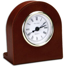 Classic Leather Desk Clock - Mocha with Gold Accents