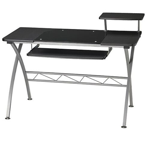 Our Vision Computer Desk with White Glass Inset and Slide Out Keyboard Tray - Anthracite is on sale now.