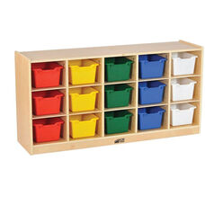 Birch 15 Cubby Tray Cabinet with 15 Assorted Colors Bins - 48