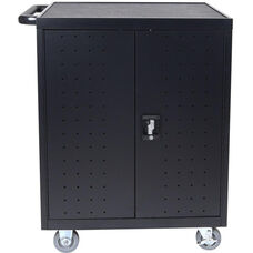 32 Laptop/Chromebook Charging Cart with Timer - Black - 28.5