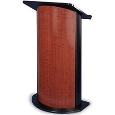 Curved Panel Lectern with Black Anodized Aluminum - Cherry Finish - 26.75