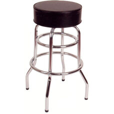 30''H Double Ring Swivel Barstool - Black Vinyl Seat