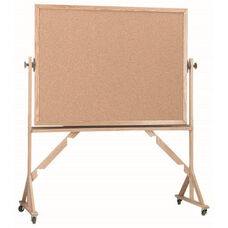Reversible Free Standing Natural Pebble Grain Cork Bulletin Board with Red Oak Frame