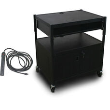 Spartan Series Adjustable Media Projector Cart and Cabinet with One Pull-Out Front-Shelf and Eight Outlet Electrical Unit - Black