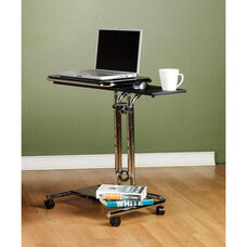 Black Tempered Glass and Steel Height Adjustable Laptop Cart with Mouse Pad - Chrome