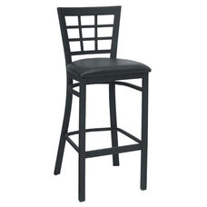 Quick Ship Window Back Metal Barstool - Black Vinyl Seat