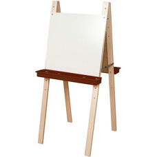 Double Sided Adjustable Art Easel with Markerboard and Brown Trays - 24