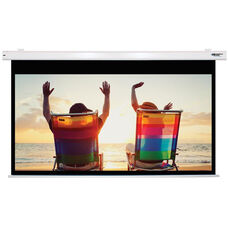 White Wall Mountable Electric Projection Screen with Matte White Fabric Screen and White Powder-Coated Aluminum Housing - 87