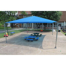 Stand Alone Shade Structure with Lock Stitched High Density Polyethylene Canopy and Galvanized Steel Legs - 216