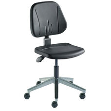 Quick Ship Unitec Series Chair with Black Self Skinned Urethane and Cast Aluminum Base - Low Seat Height