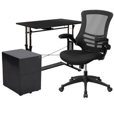 3 Piece Office Set - Adjustable Computer Desk, Ergonomic Mesh Office Chair and Locking Mobile Filing Cabinet with Side Handles