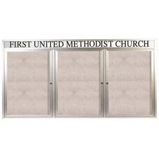 3 Door Outdoor Enclosed Bulletin Board with Header and Aluminum Frame - 48