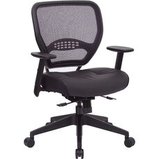 Space Air Grid Back and Bonded Leather Seat Managers Office Chair with Seat Slider