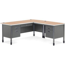 Mesa L-Shaped Desk with Right Pedestal Return - Maple