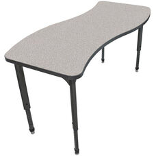 Apex Series Height Adjustable Wave Activity Table - Gray Nebula Top with Black Edge and Legs - 60